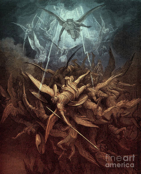Wall Art - Painting - Paradise Lost,  Fall Of The Rebel Angels, by Gustave Dore