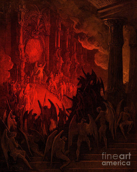 Wall Art - Drawing - Paradise Lost  Satan In Council by Gustave Dore