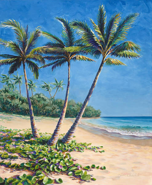 Tropical Paradise Landscape - Hawaii Beach And Palms Painting Art Print