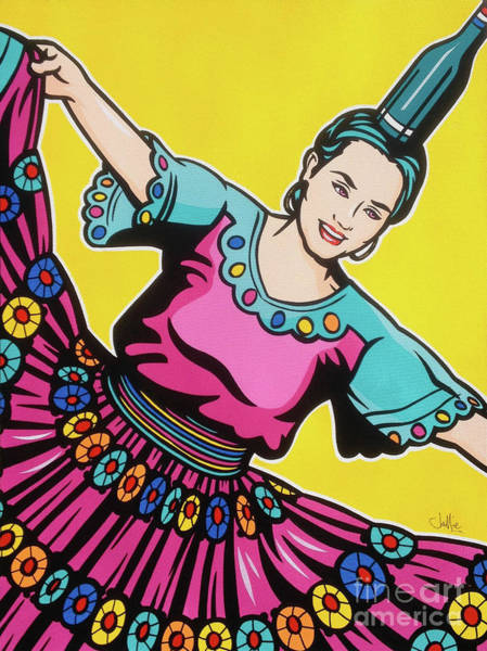 Tradition Painting - Paraguayan Bottle Dance On Yellow by James Lee