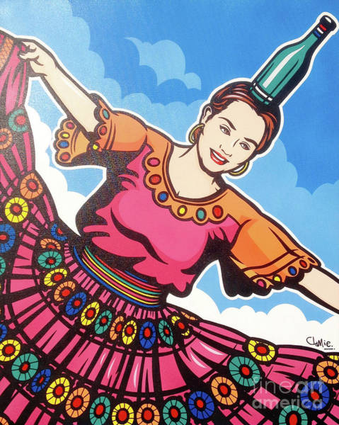 Traditional Dances Painting - Paraguayan Bottle Dancer by James Lee