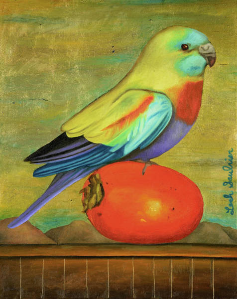 Painting - Parakeet On A Persimmon by Leah Saulnier The Painting Maniac