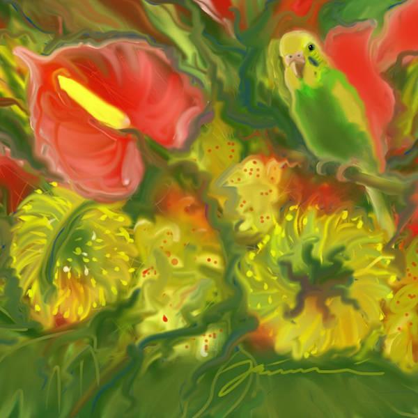 Digital Art - Parakeet Paradise by Jean Pacheco Ravinski