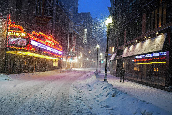 Photograph - Paramount Snowstorm Boston Ma Washington Street by Toby McGuire