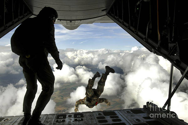 Skydiver Photograph - Pararescuemen Jump Out The Back by Stocktrek Images