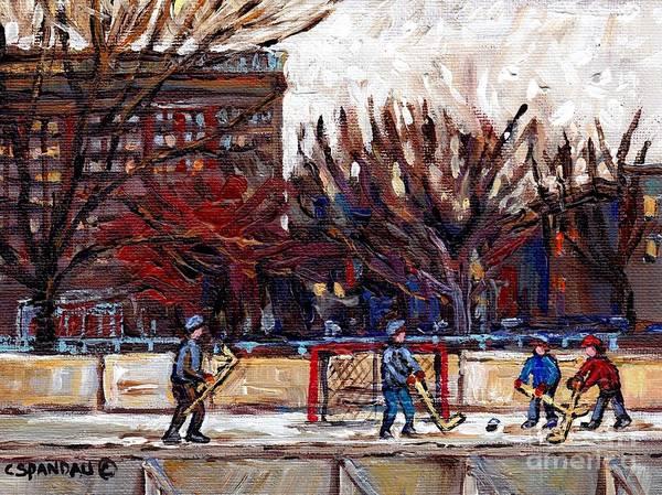 Painting - Parc Lafontaine Hockey Rink Painting Montreal East Winter City Scene Quebec Art C Spandau by Carole Spandau