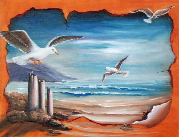 Painting - Parchment Seascape by Joni McPherson