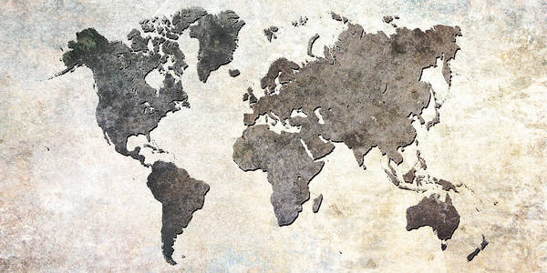 Gray Wall Art - Digital Art - Parchment World Map by Douglas Pittman