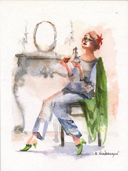 Ink Painting - Parfum by Kristina Vardazaryan
