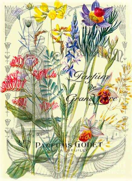 Romantic Flower Mixed Media - Parfum Vintage Paris by Delphimages Photo Creations