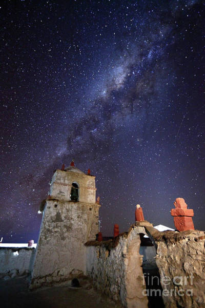 Photograph - Parinacota Church Belfry And Milky Way Chile by James Brunker
