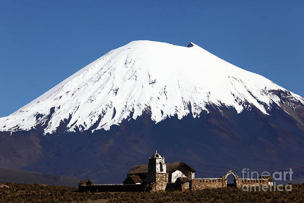 Photograph - Parinacota Volcano And Rustic Church Bolivia by James Brunker