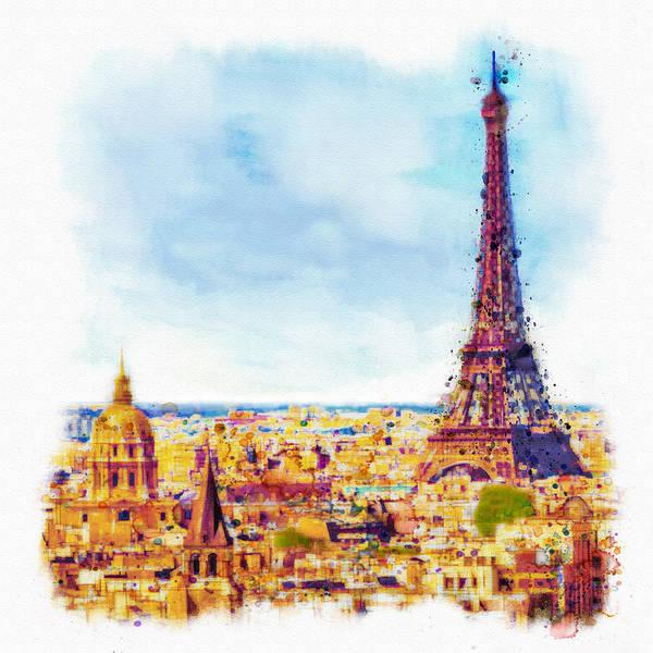 Romantic Mixed Media - Paris Aerial View by Marian Voicu