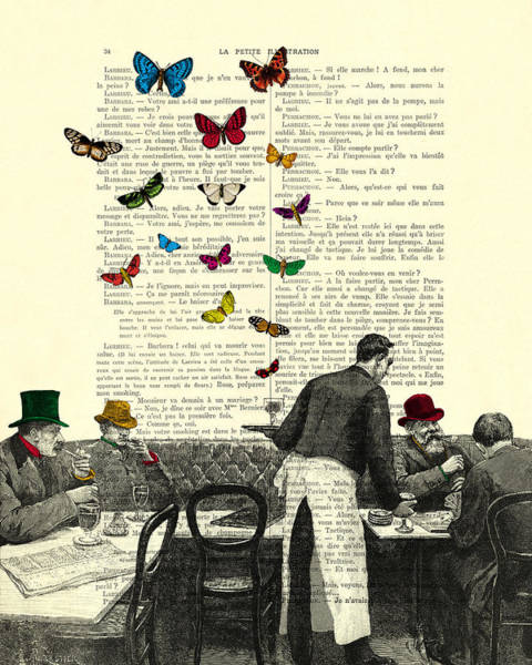 Scene Digital Art - Inside Of A French Bistro At Paris And Rainbow Butterflies by Madame Memento