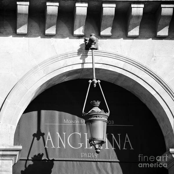Outdoor Cafe Photograph - Paris Angelina Cafe Bistro Coffee House Black And White Paris Decor Wall Art Home Decor by Kathy Fornal