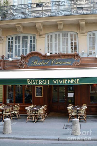 Outdoor Cafe Photograph - Paris Bistrot Vivienne Galerie Vivienne - Parisian Cafes Bistros by Kathy Fornal