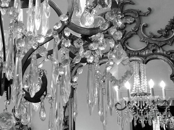 Wall Art - Photograph - Paris Black And White Crystal Chandelier Mirrored Wall Decor -parisian Black White Chandelier Prints by Kathy Fornal