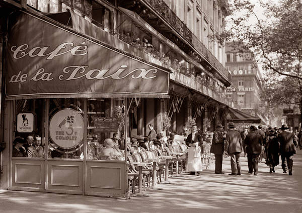 Photograph - Paris Cafe 1935 Sepia by Andrew Fare