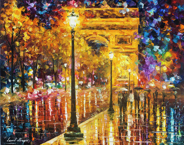 Wall Art - Painting - Paris - Campos Elises by Leonid Afremov