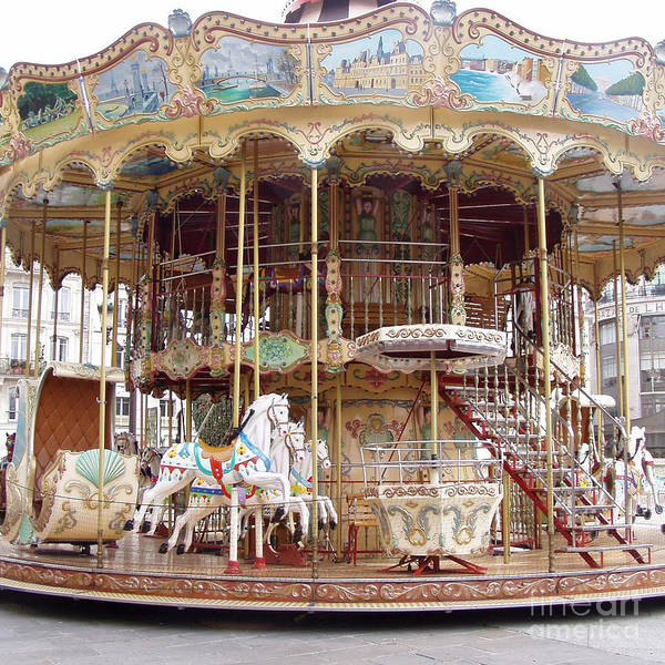 Carousels Photograph - Paris Carousels - Paris Merry Go Round Carousel Horses Hotel Deville - Paris Carousels Home Decor by Kathy Fornal