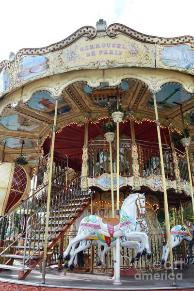 Carousel Horse Photograph - Paris Carousels - Paris Merry Go Round Carousel Horses  by Kathy Fornal