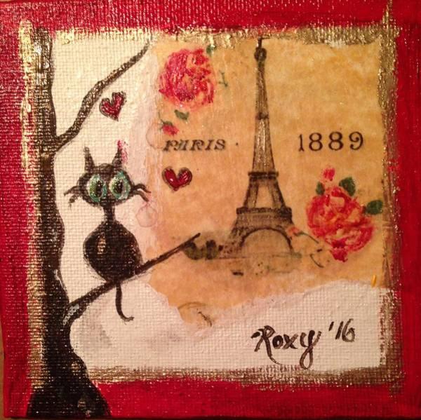City Painting - Paris Cat  by Roxy Rich