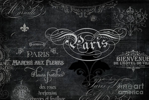 Wall Art - Painting - Paris Chalkboard Typography 1 by Audrey Jeanne Roberts