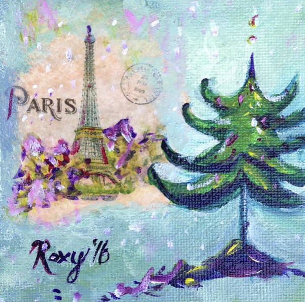 City Painting - Paris Christmas by Roxy Rich
