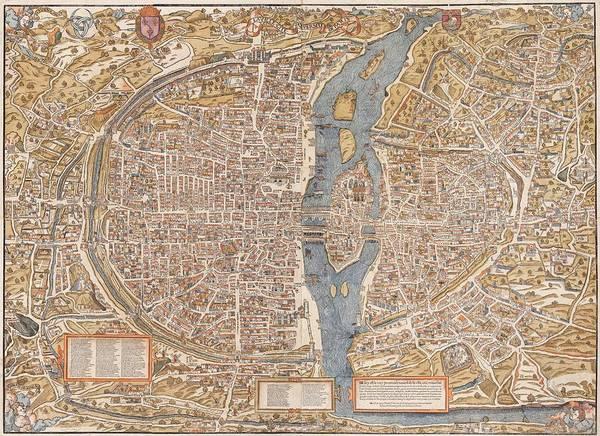 Painting - Paris City Map 1550 by Celestial Images