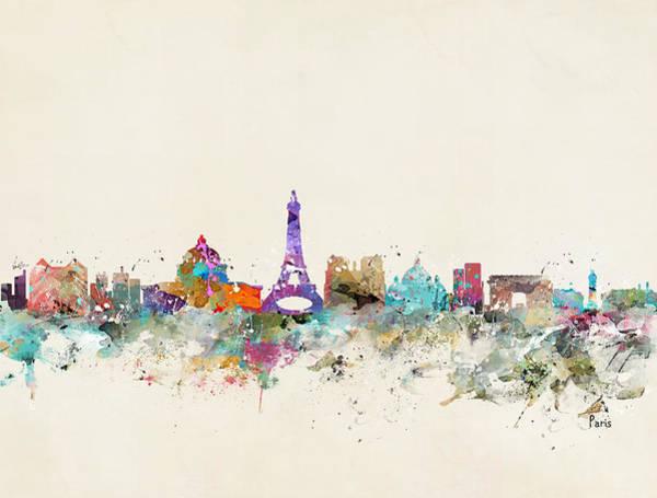 Retro Paris Painting - Paris City Skylline by Bri Buckley