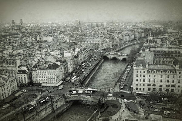 Photograph - Paris Cityscape Bw by Joan Carroll