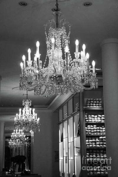 Chandelier Wall Art - Photograph - Paris Black And White Crystal Chandelier - Paris Repetto Ballet Chandelier by Kathy Fornal