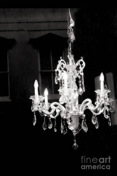 Wall Art - Photograph - Paris Crystal Chandelier - Opulent Black And White Crystal Chandelier Window Reflection by Kathy Fornal