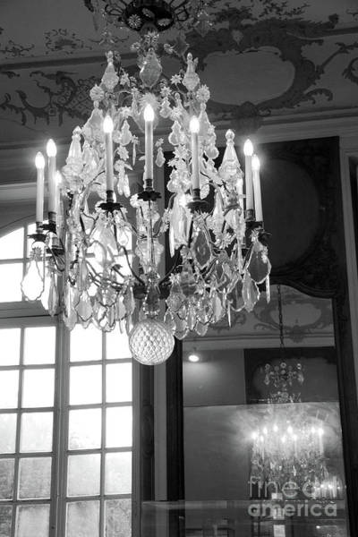 Wall Art - Photograph - Paris Crystal Chandelier - Opulent Paris Rodin Museum Crystal Chandelier - Chandelier Decor by Kathy Fornal