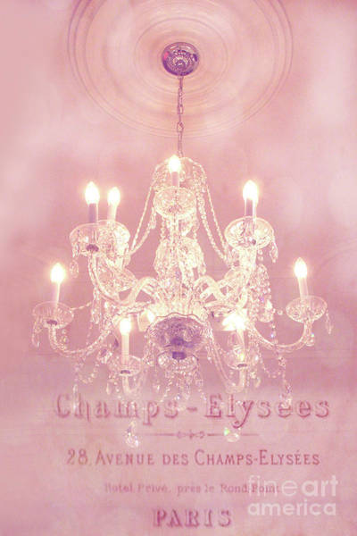Chandelier Wall Art - Photograph - Paris Crystal Chandelier Pink Sparkling Chandelier - Paris Dreamy Pink Chandelier Art French Script  by Kathy Fornal