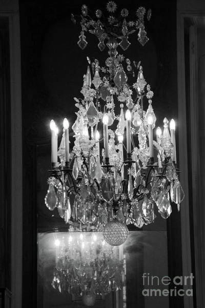 Wall Art - Photograph - Paris Crystal Chandelier Rodin Museum - Paris Black White Crystal Chandelier Wall Decor  by Kathy Fornal