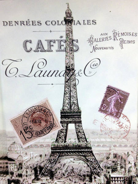 Wall Art - Photograph - Paris Eiffel Tower French Typography Parisian Script Lettering Montage  by Kathy Fornal