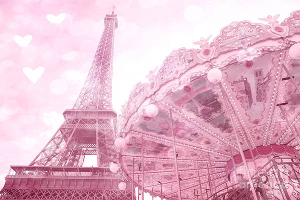 Wall Art - Photograph - Paris Eiffel Tower Pink Carousel Merry Go Round With Pink Hearts Nursery Decor by Kathy Fornal
