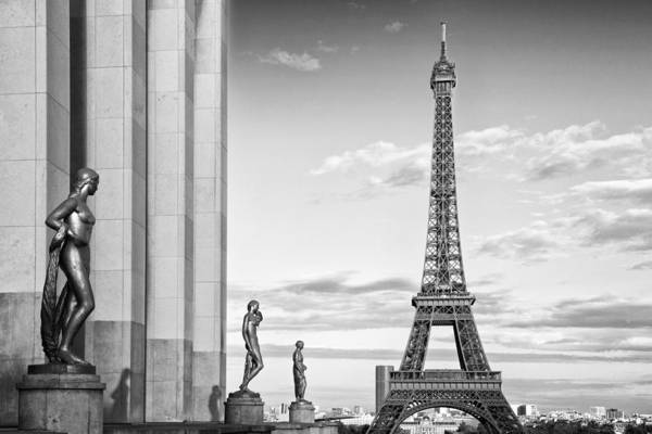 Champ Photograph - Paris Eiffel Tower Trocadero Monochrome by Melanie Viola