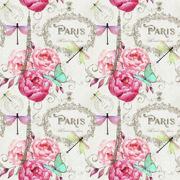 Postmark Painting - Paris Flower Market Repeating Pattern by Tina Lavoie