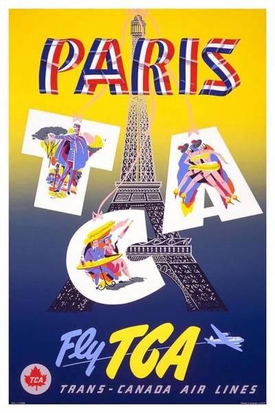 Wall Art - Mixed Media - Paris - Fly Tca, Trans Canada Air Lines - Eiffel Tower - Retro Travel Poster - Vintage Poster by Studio Grafiikka
