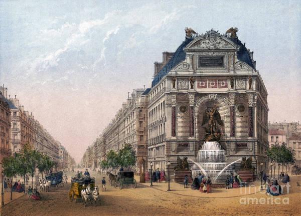Drawing - Paris, Fontaine Saint-michel by Granger