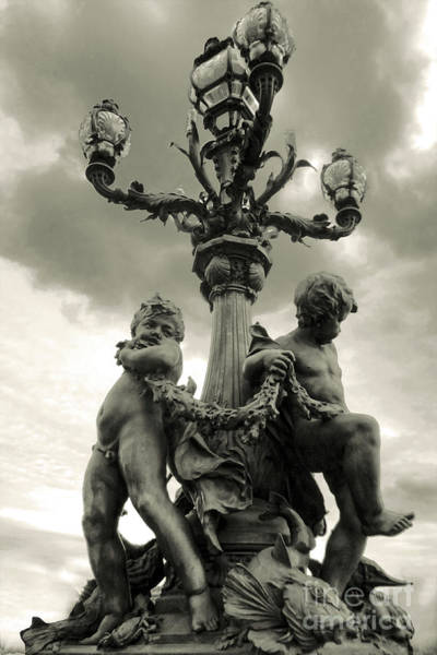 Photograph - Paris France Cupids In Sepia by Gregory Dyer