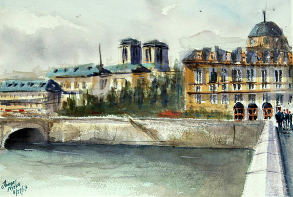 Wall Art - Painting - Paris, France  - Left Bank by James Nyika