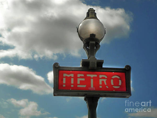 Photograph - Paris France Metro Sign by Gregory Dyer