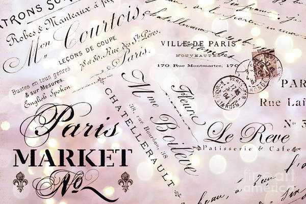 Parisian Photograph - Paris French Script Wall Decor - French Script Letters Typography - Paris French Script Wall Decor by Kathy Fornal