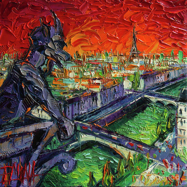Wall Art - Painting - Paris Gargoyle Contemplation Textural Impressionist Stylized Cityscape by Mona Edulesco