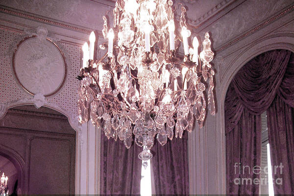 Chandelier Photograph - Paris Hotel Regina Crystal Chandelier - Paris French Crystal Chandelier Prints Home Decor by Kathy Fornal