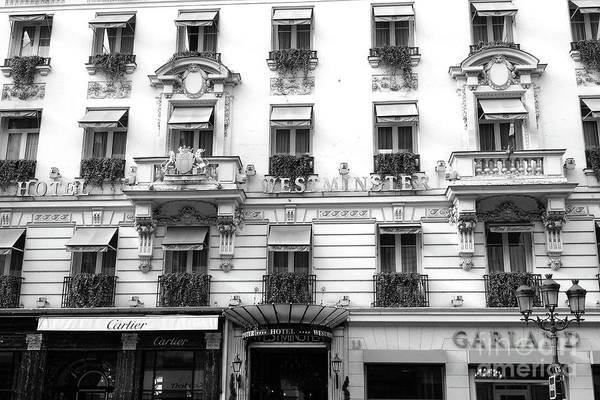 Wall Art - Photograph - Paris Hotel Westminster Black And White Photography - Paris Cartier Shop - Paris Windows by Kathy Fornal