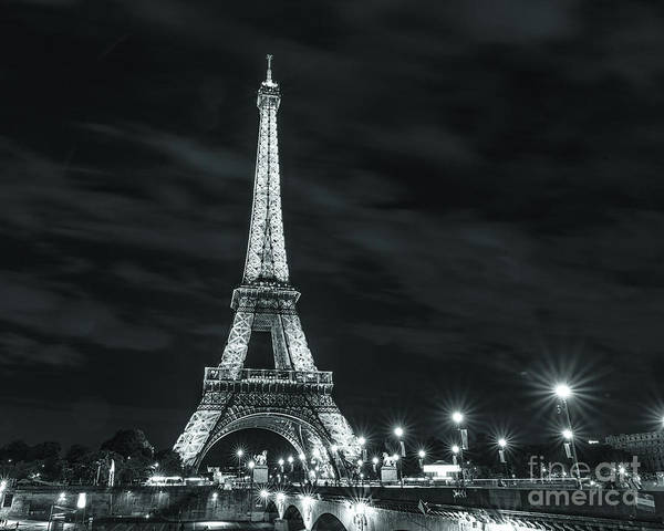 Photograph - Paris Lights At Night Black And White by Alissa Beth Photography